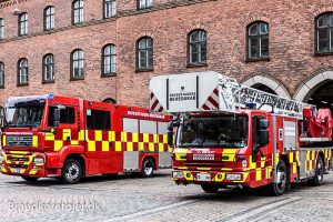 Hovedbrandstationens sprøjte og stige. Foto: Rune Christensen.